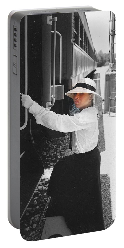Snood Portable Battery Charger featuring the photograph Traveling By Train - Black And White Focal by Cindy New