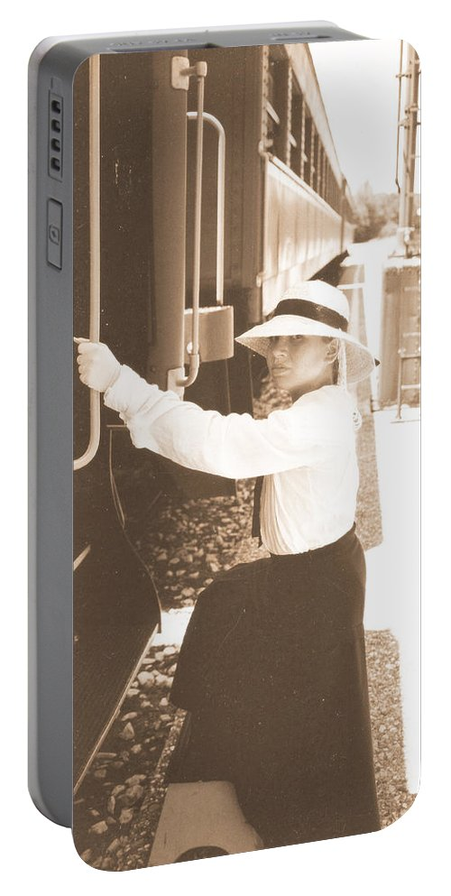 Snood Portable Battery Charger featuring the photograph Traveling By Train - Sepia by Cindy New