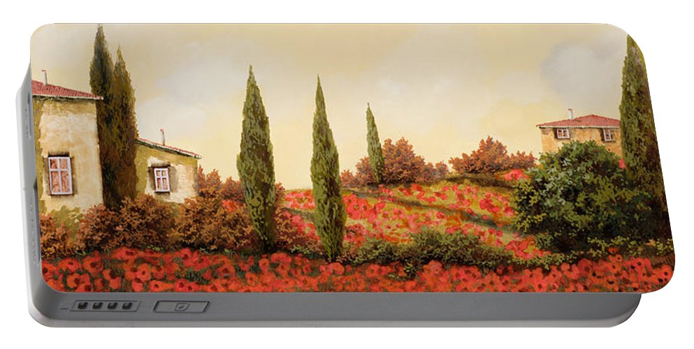 Landscape Portable Battery Charger featuring the painting Tre Case Tra I Papaveri Rossi by Guido Borelli