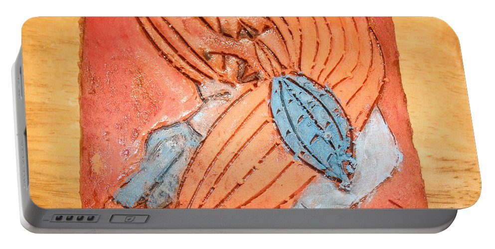 Jesus Portable Battery Charger featuring the ceramic art Treasures - Tile by Gloria Ssali