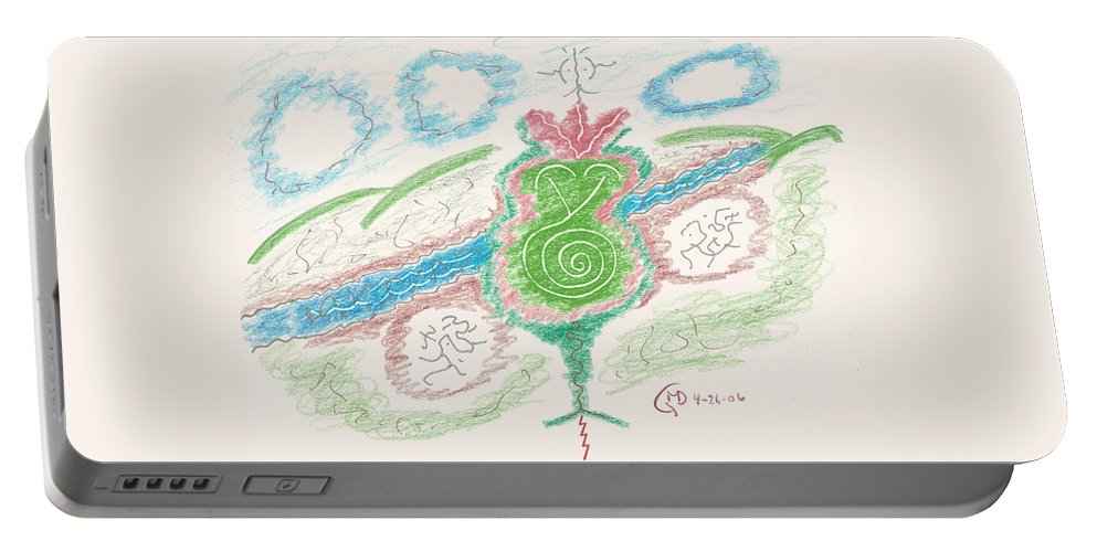 Sierra Madre Portable Battery Charger featuring the drawing Treasures Of The Sierra Madre by Mark David Gerson