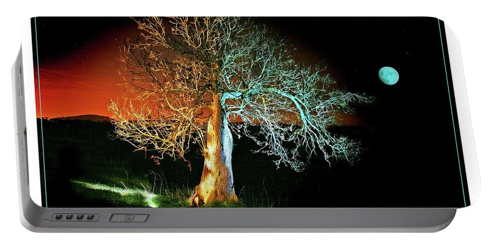 Tree Portable Battery Charger featuring the photograph Tree And Moon by Mal Bray