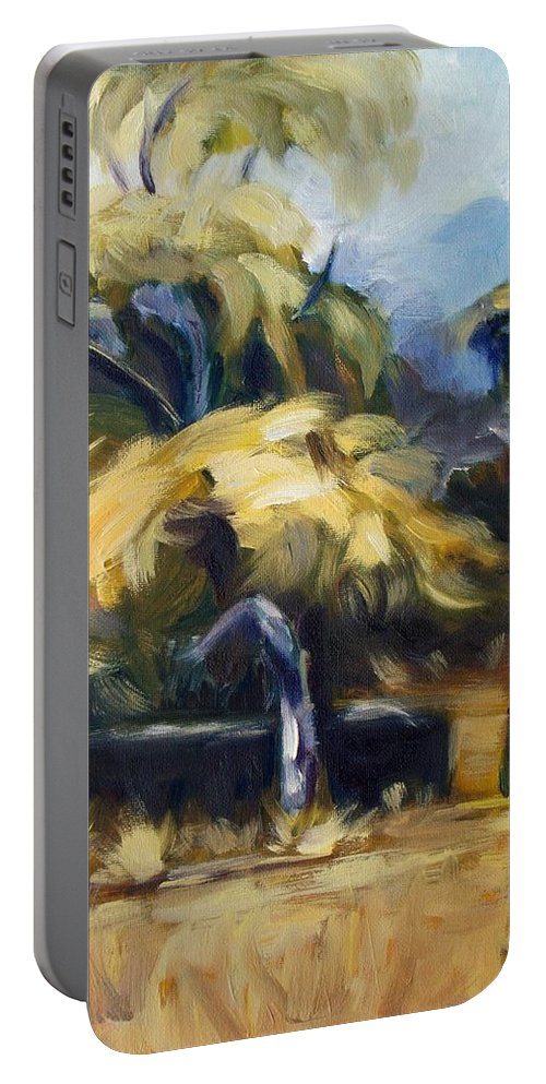 Landscape Portable Battery Charger featuring the painting Tree by Elena Sokolova