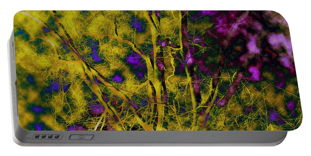 Abstract Portable Battery Charger featuring the photograph Tree Glow by Linda Sannuti
