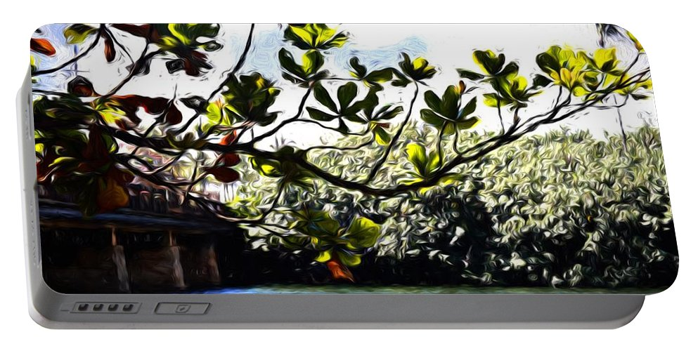 Photography Portable Battery Charger featuring the photograph Tree Limb Over Water 2 by Kristalin Davis