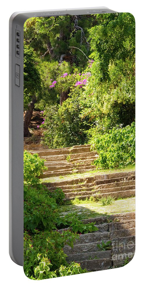 Burgazada Island Portable Battery Charger featuring the photograph Tree Lined Steps by Bob Phillips