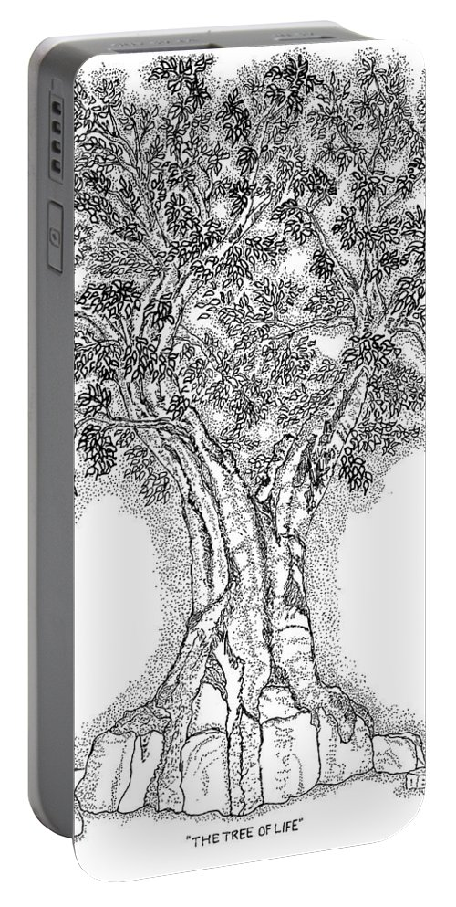 Christian Portable Battery Charger featuring the drawing Tree Of Life 1 by Glenn McCarthy Art and Photography