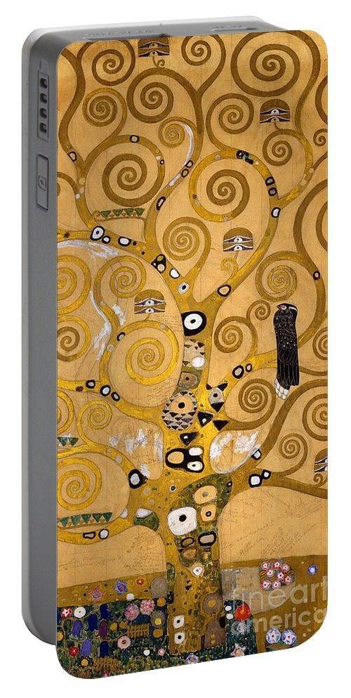 Klimt Portable Battery Charger featuring the painting Tree Of Life by Gustav Klimt