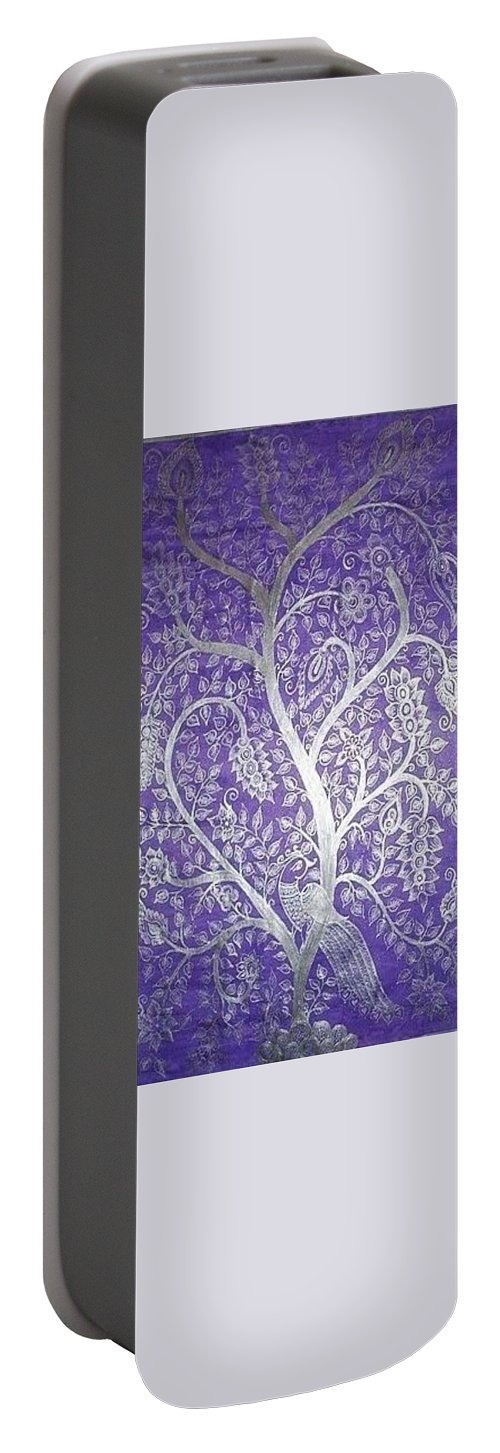 Peacock Portable Battery Charger featuring the painting Tree Of Life by M Ande