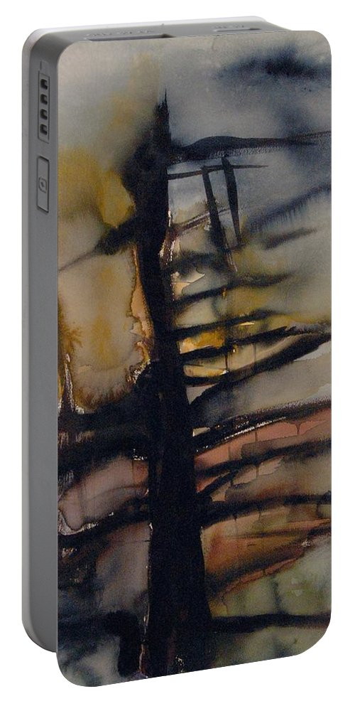 Tree Abstracted Original Watercolor Silhouette Open Branches Limbs Trees Portable Battery Charger featuring the painting Tree Series Vi by Leila Atkinson