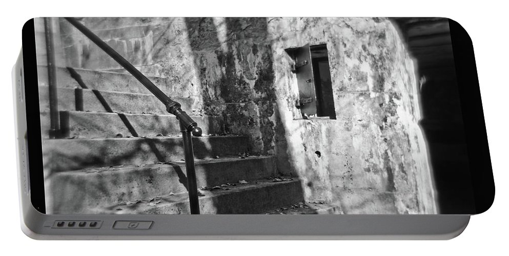 Delaware Portable Battery Charger featuring the photograph Tree Shadow , Doors And Stairs At The Elder Battery At Fort Delaware by David Wolanski