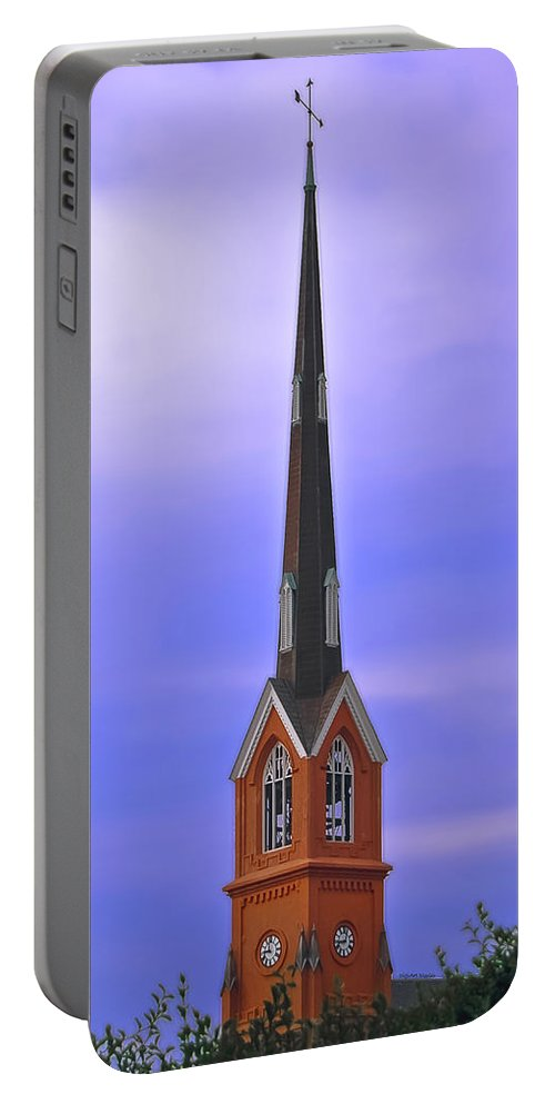 Church Portable Battery Charger featuring the digital art Tree Top Steeple by DigiArt Diaries by Vicky B Fuller