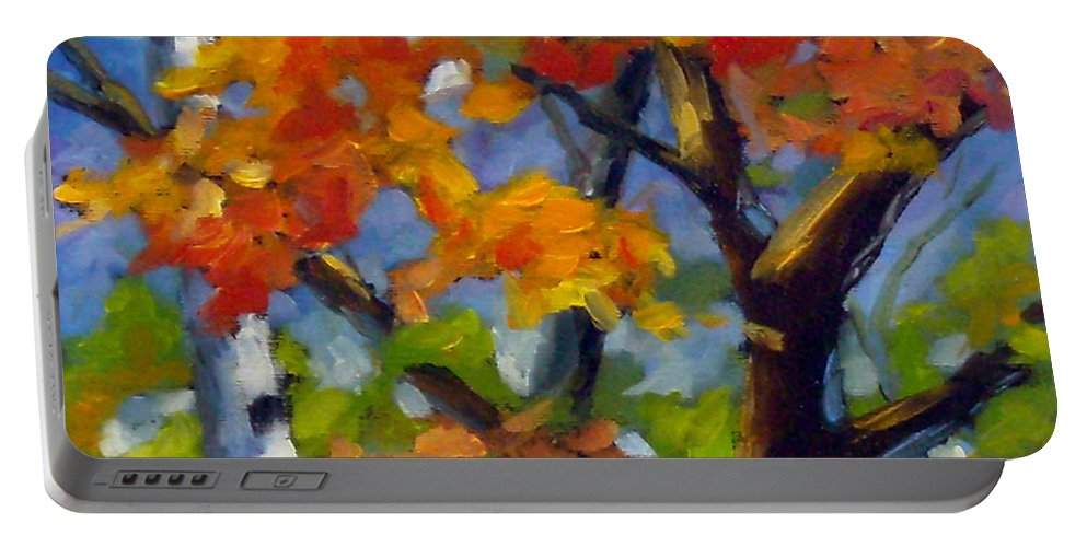 Art For Sale Portable Battery Charger featuring the painting Tree Tops by Richard T Pranke