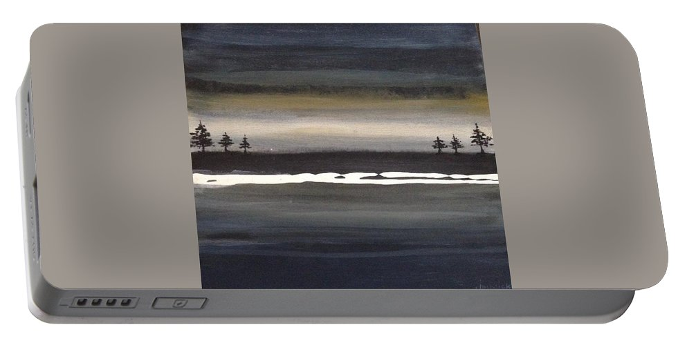 Portable Battery Charger featuring the painting Tree Twins by Jannicke Wiig