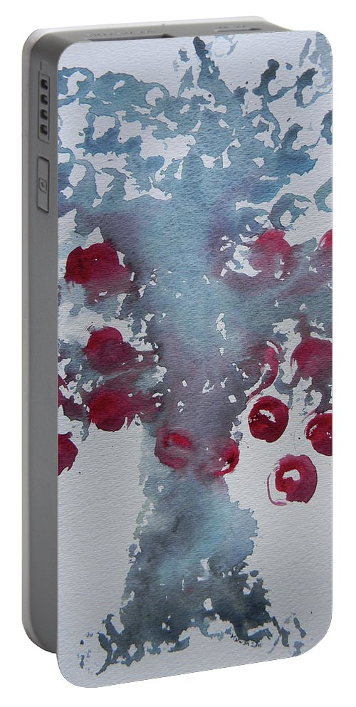 Marwan Portable Battery Charger featuring the painting Tree With Balls Eight by Marwan George Khoury