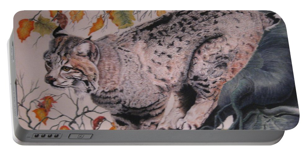 Bobcat Portable Battery Charger featuring the pastel Treed by John Huntsman