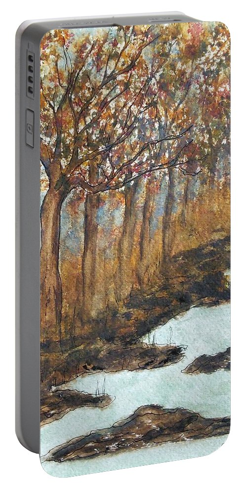 Fall Colors Portable Battery Charger featuring the painting Treenink by Susan Nielsen