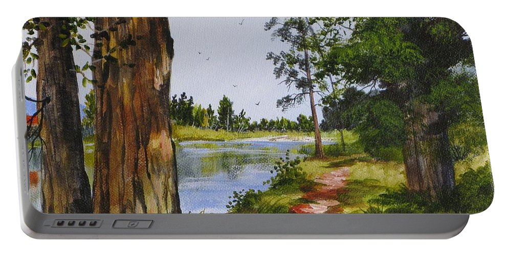 Judy Bradley Portable Battery Charger featuring the painting Trees Along The River by Judy Bradley