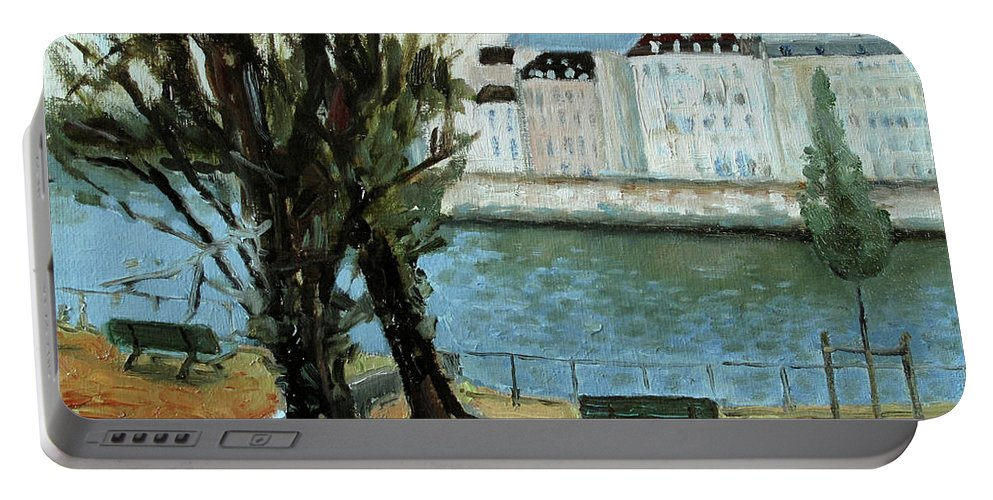 Landscape Portable Battery Charger featuring the painting Trees By The River by Raimonda Jatkeviciute-Kasparaviciene