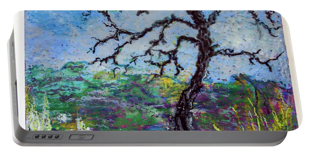 Oil Pastels On Wood Panel Portable Battery Charger featuring the painting Tree's End by Judith Ghetti Ommen