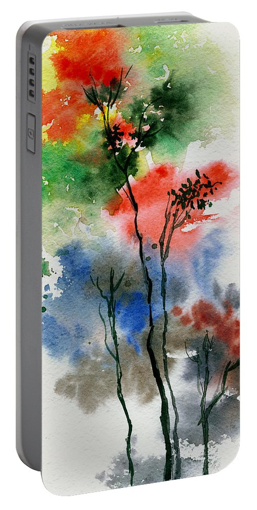 Trees Portable Battery Charger featuring the painting Trees In Colors by Anil Nene