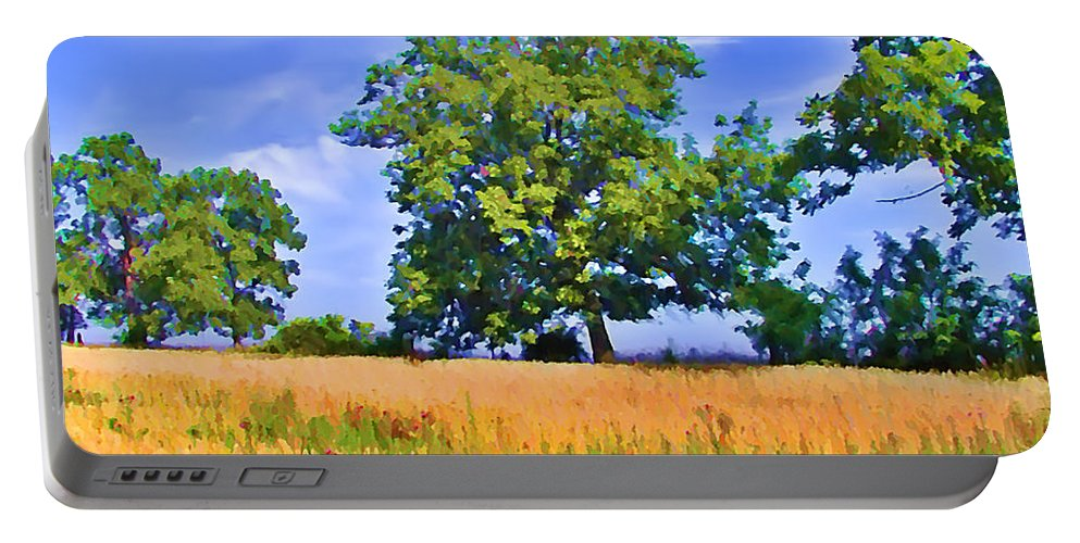 Gettysburg Portable Battery Charger featuring the photograph Trees In Field by Bill Cannon