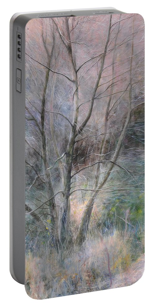 Trees Portable Battery Charger featuring the painting Trees In Light by Harry Robertson