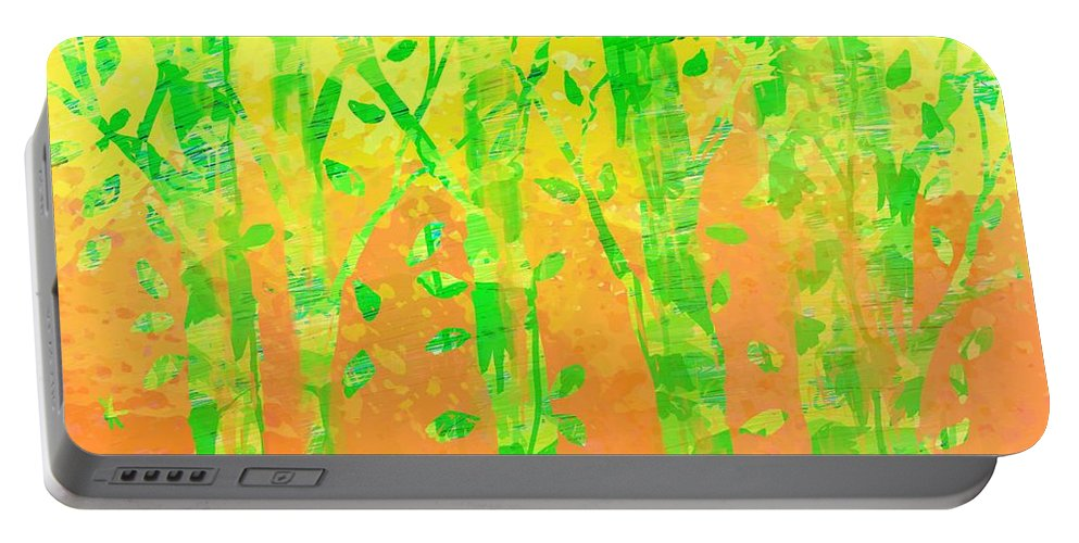 Abstract Portable Battery Charger featuring the digital art Trees in the Grass by William Russell Nowicki