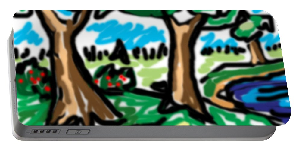 Tree Portable Battery Charger featuring the digital art Trees W Water Ddl by Blind Ape Art