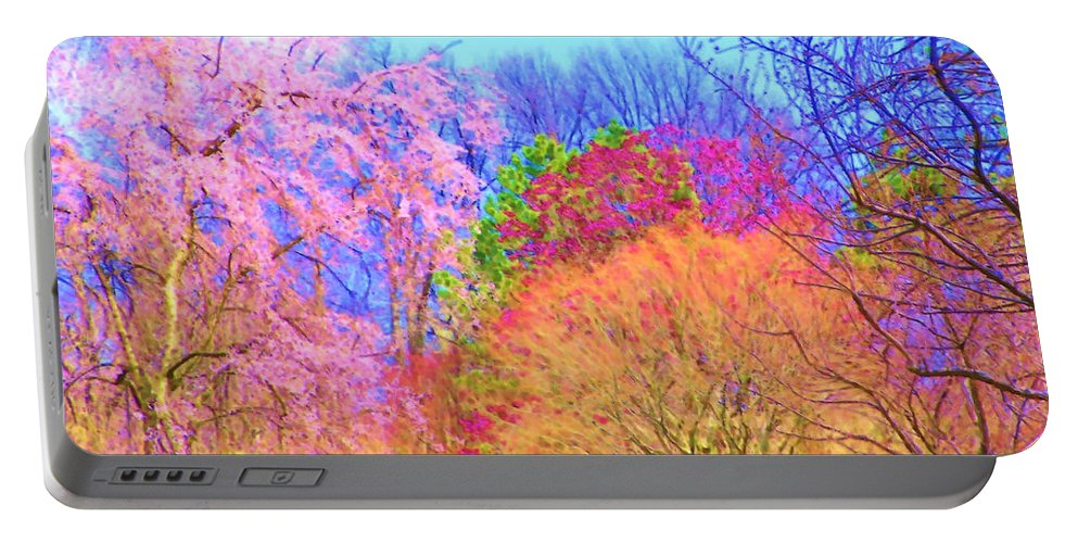 Trees Portable Battery Charger featuring the painting Trees With Color by Susanna Katherine