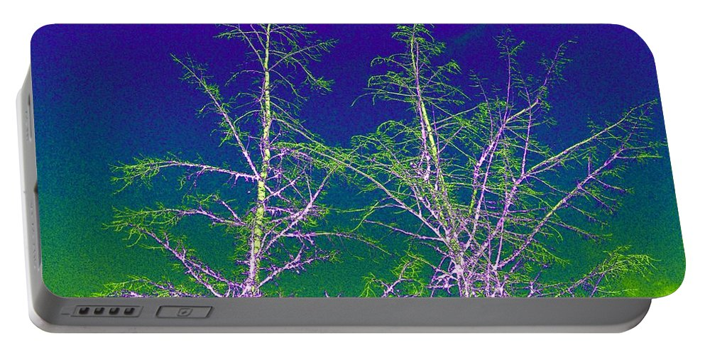 Abstract Portable Battery Charger featuring the digital art Treetops 3 by Will Borden