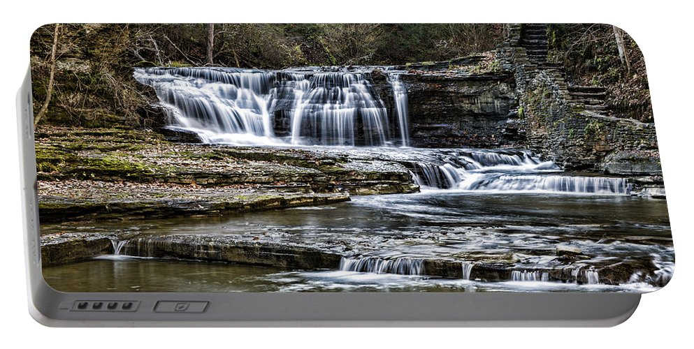 Ithaca Portable Battery Charger featuring the photograph Treman Cascades #4 by Stephen Stookey