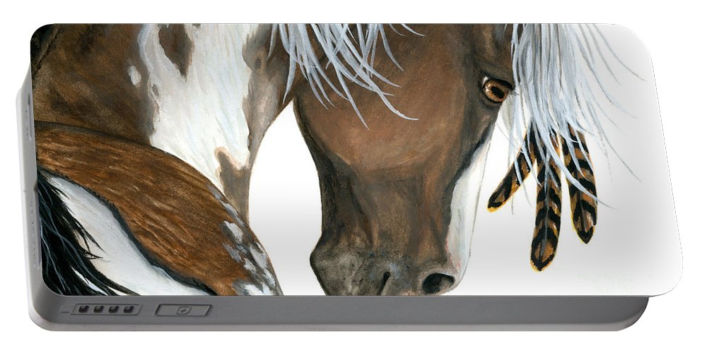 Majestic Mm141 Bihrle Painted Pony Native American Horses Wild Horses Mustangs Pinto Paints Feathers Portable Battery Charger featuring the painting Tri Colored Pinto Horse by AmyLyn Bihrle