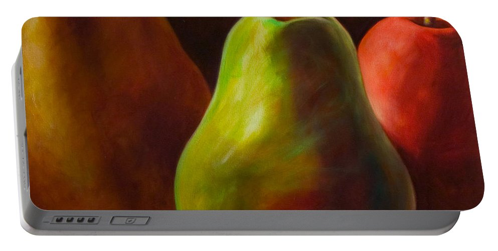 Fruit Portable Battery Charger featuring the painting Tri Pear by Shannon Grissom