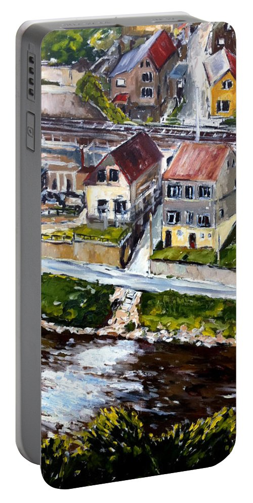 Landscape Portable Battery Charger featuring the painting Tri V Jednom by Pablo de Choros