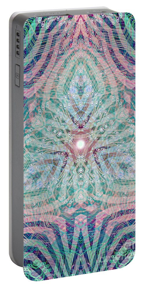 Abstract Portable Battery Charger featuring the digital art Triagonal by Ryan Ross