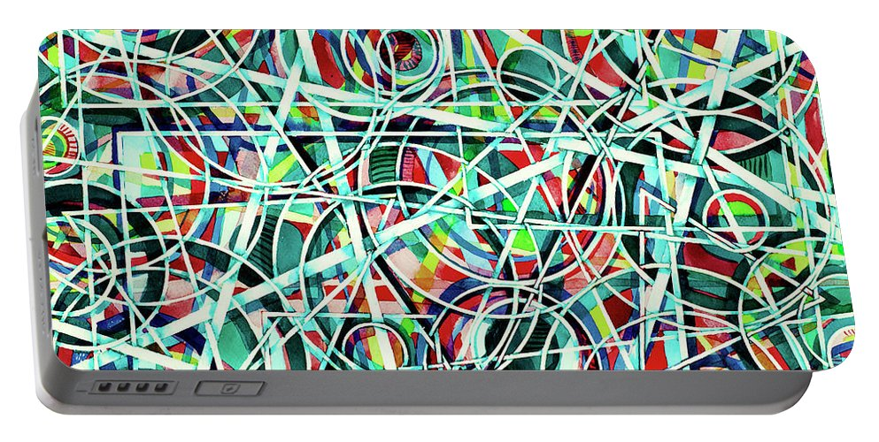 Original Art Portable Battery Charger featuring the painting Triangle Interlacing by Carolyn Coffey Wallace