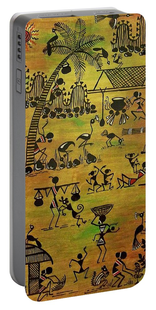 Warli Portable Battery Charger featuring the painting Tribals I by Ivy Sharma