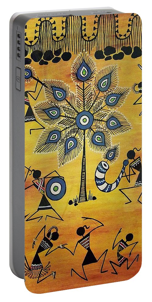 Warli Art Portable Battery Charger featuring the painting Tribals II by Ivy Sharma