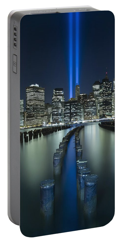 9-11 Portable Battery Charger featuring the photograph Tribute In Light by Evelina Kremsdorf