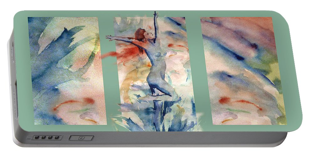 Abstract Portable Battery Charger featuring the painting Tribute by Steve Karol