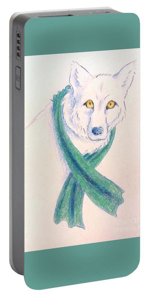 Wolf Portable Battery Charger featuring the drawing Trigeminal Neuralgia Awareness Wolf by Diane Champion