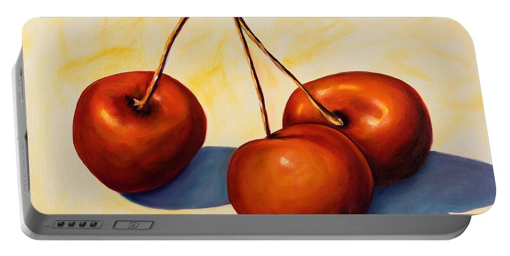 Cherries Portable Battery Charger featuring the painting Trilogy by Shannon Grissom