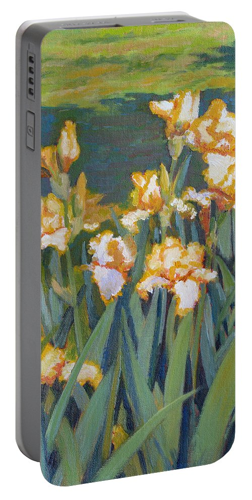 Impressionism Portable Battery Charger featuring the painting Trimmed In Gold by Keith Burgess
