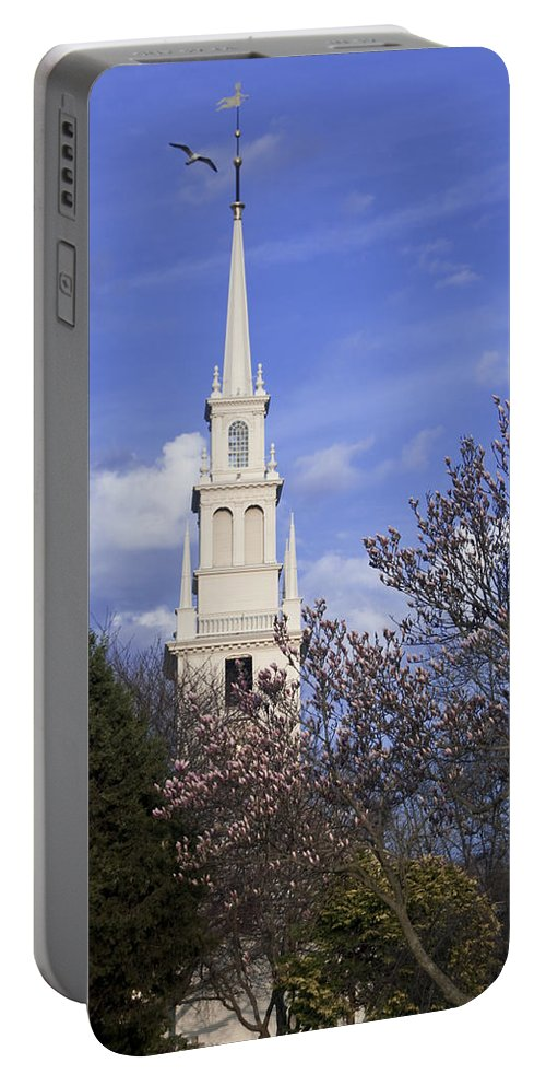 Trinity Church Portable Battery Charger featuring the photograph Trinity Church In Spring by Steven Natanson