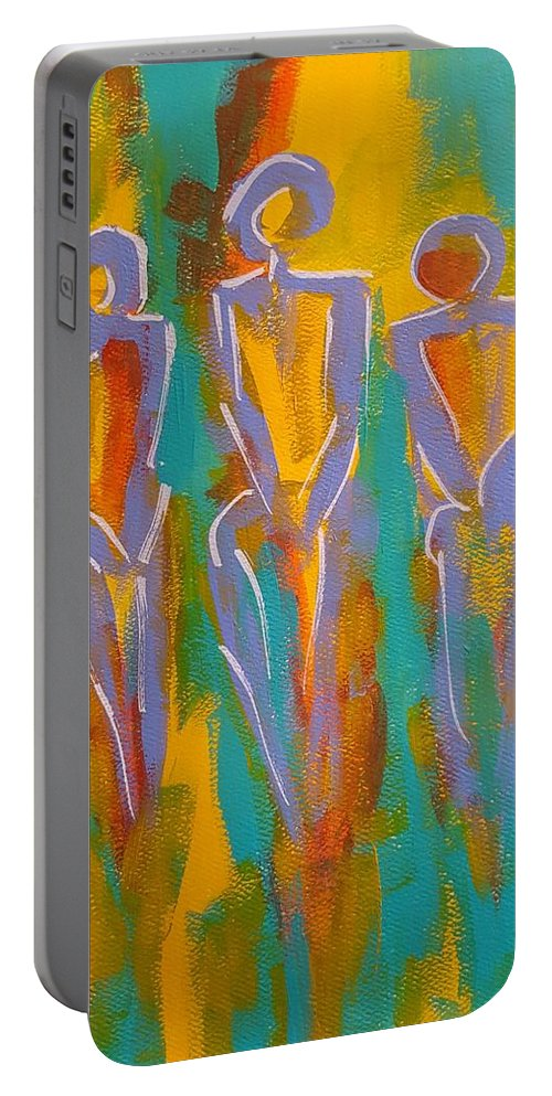 Abstract Portable Battery Charger featuring the painting Trio by Gail Friedman