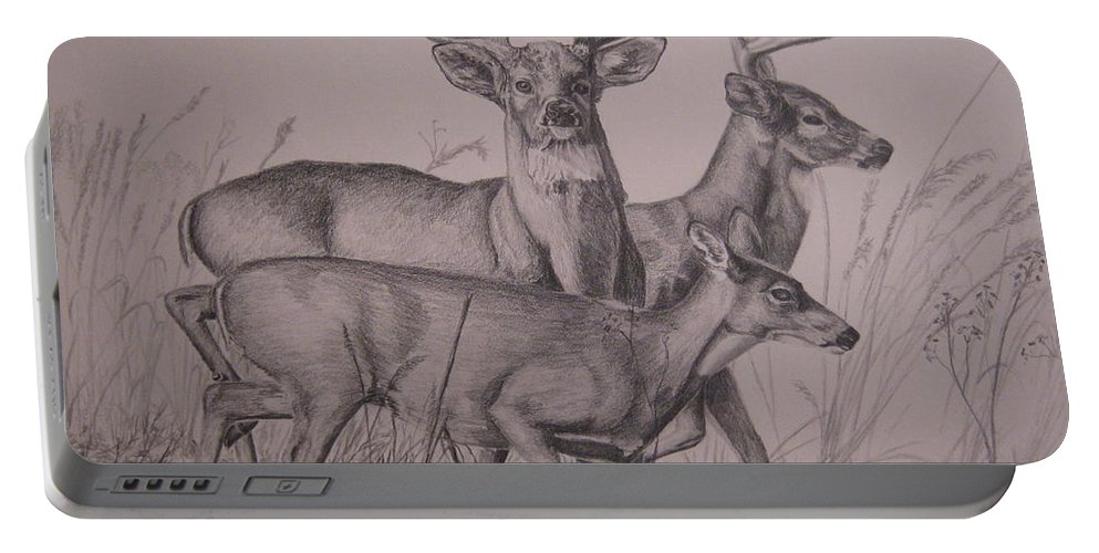 Wildlife Portable Battery Charger featuring the drawing Trio by John Huntsman