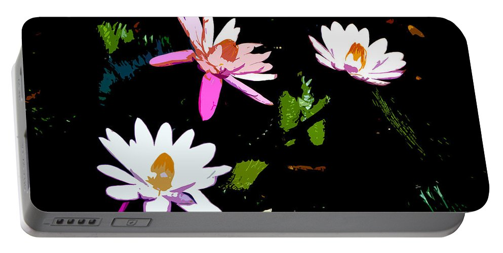 Flowers Portable Battery Charger featuring the painting Triple Beauties by David Lee Thompson