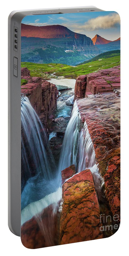 America Portable Battery Charger featuring the photograph Triple Falls Sunset by Inge Johnsson