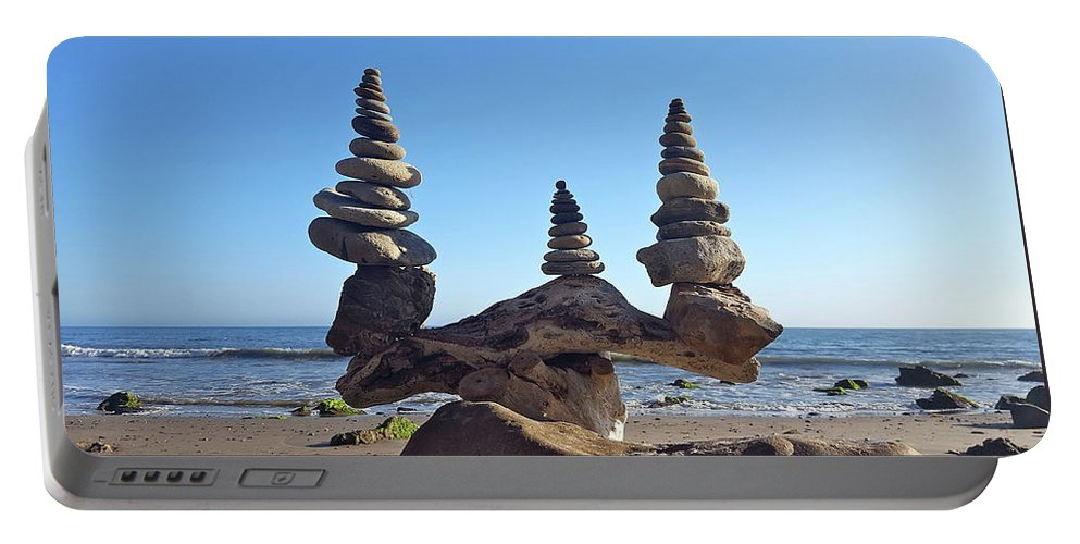 Rock Stacks Portable Battery Charger featuring the photograph Triple Stack On Driftwood by Joseph Krzywonski